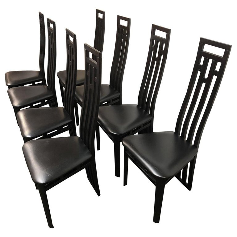 Set Of Eight Dining Room Chairs By A Sibau Design Plus