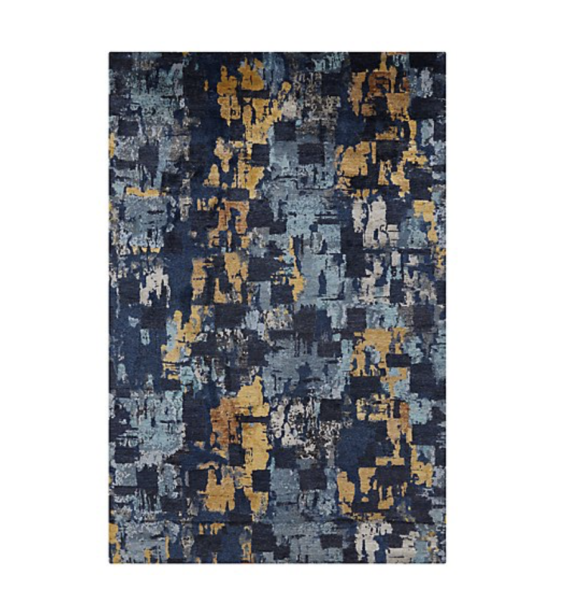 New Crate Amp Barrel Vasari Indigo Blue Abstract Rug 6 X