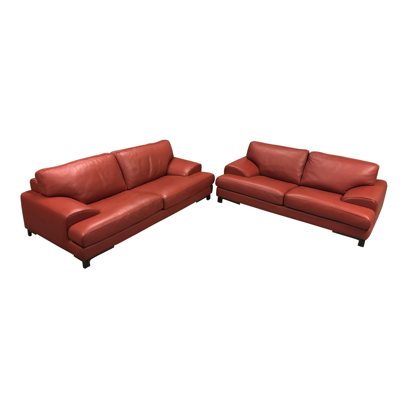 roche-bobois-red-leather-sofa-with-loveseat-2752 - Design Plus Gallery