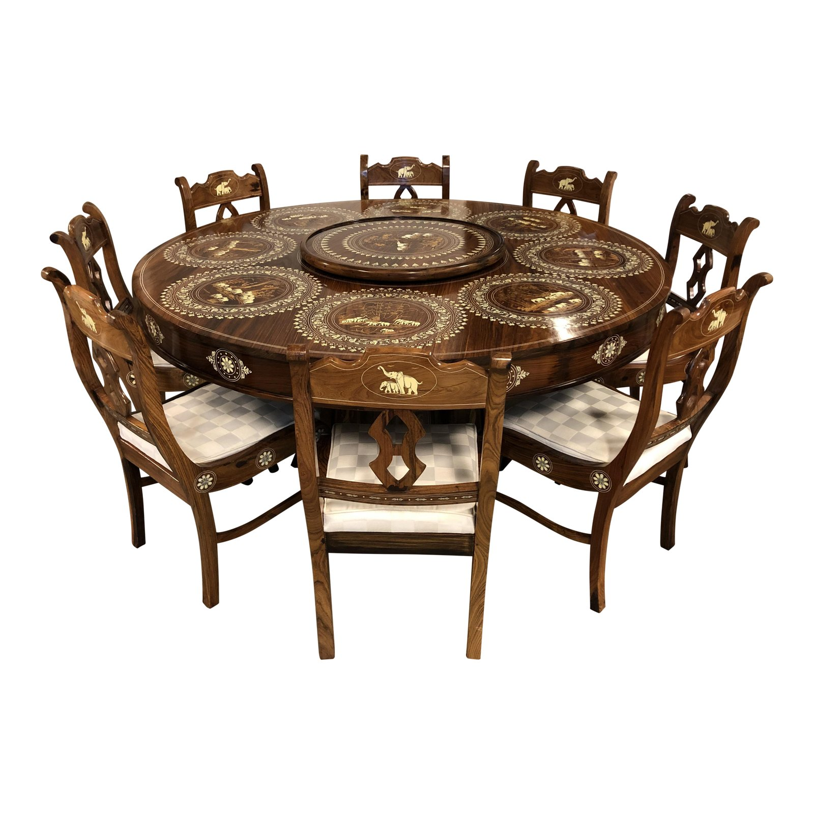 Wood Bone Inlaid Dining Table Eight Chairs From India