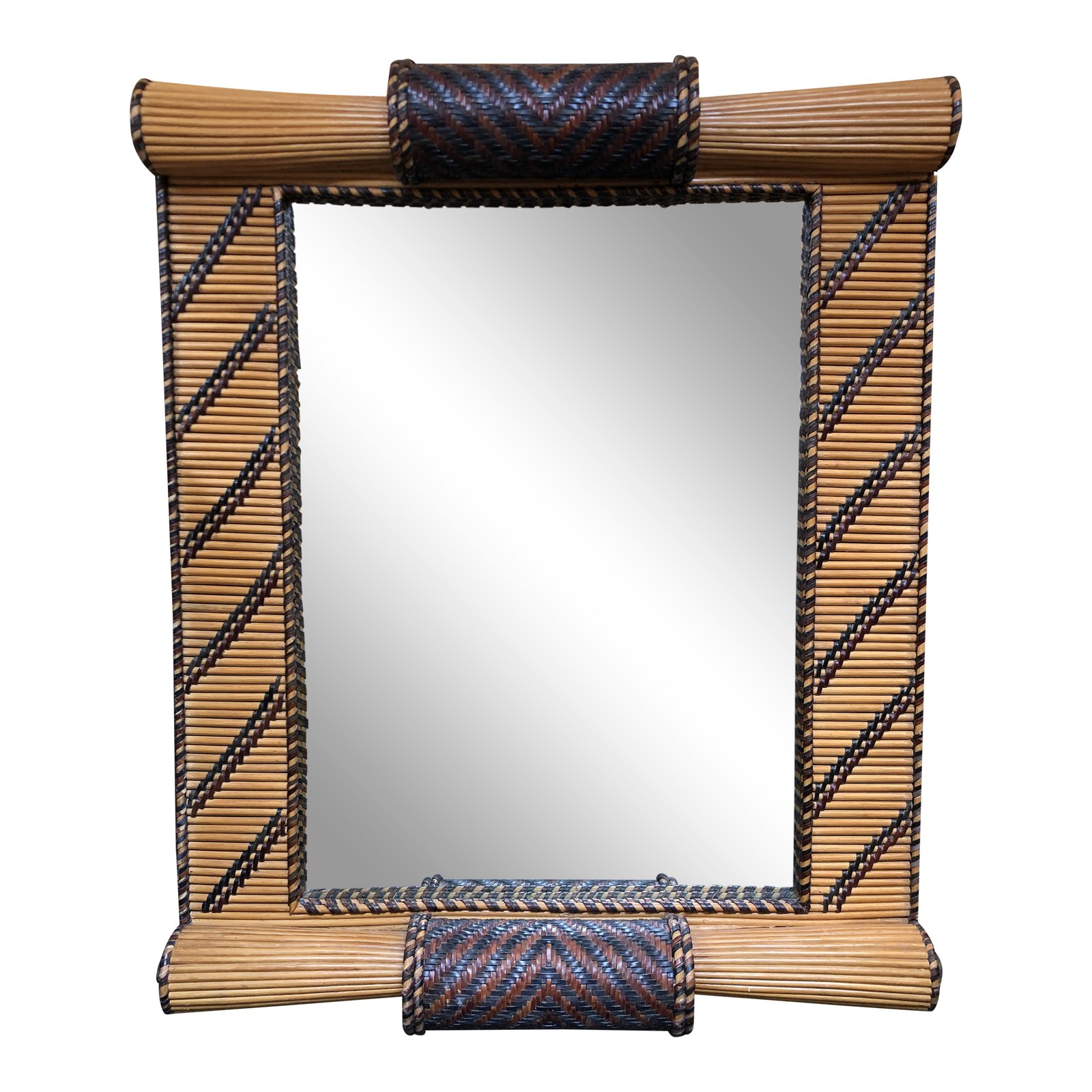 Bamboo Woven Leather Stone Wall Mirror Design Plus