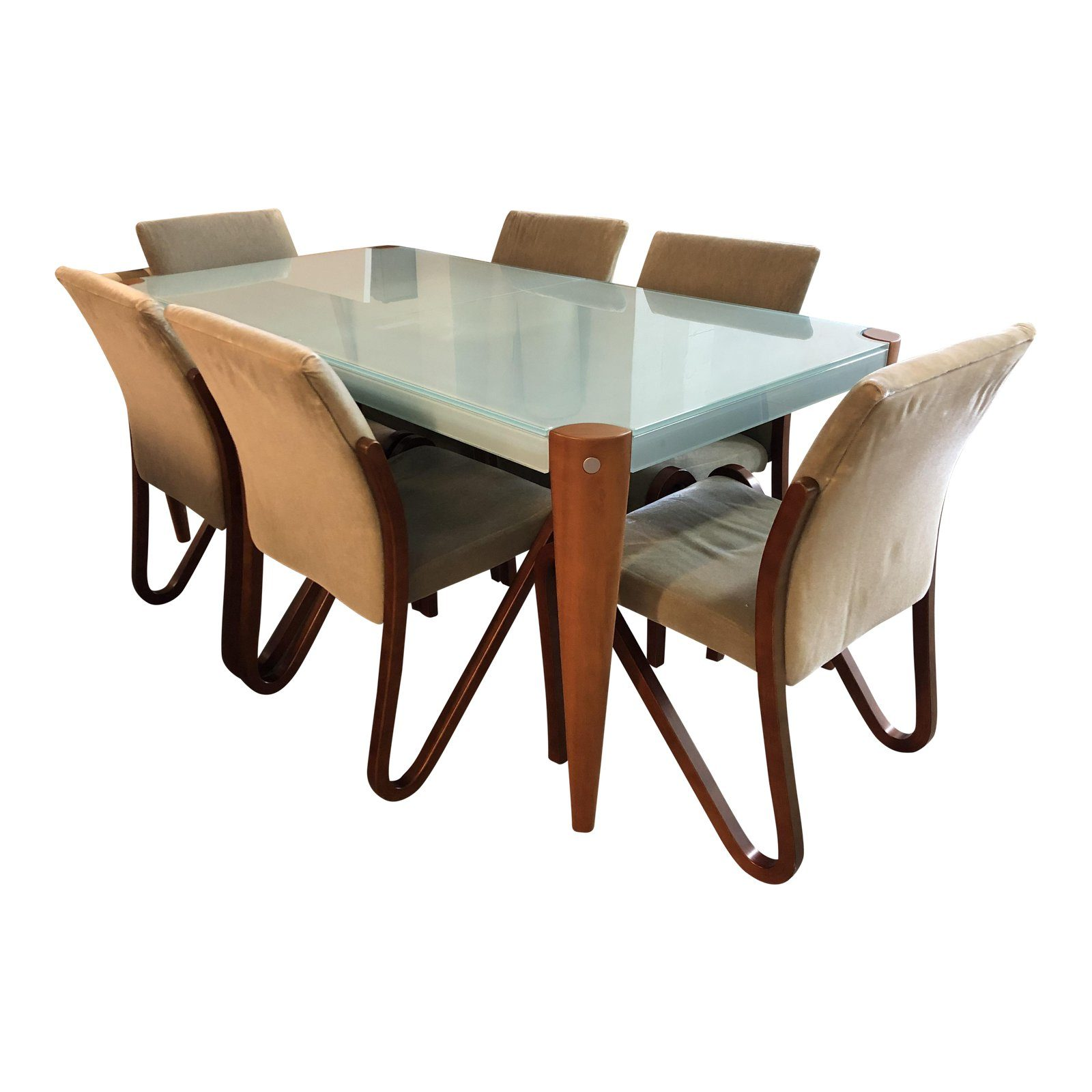 Graebel Glass Cherry Wood Butterfly Leaf Dining Table Six Chairs