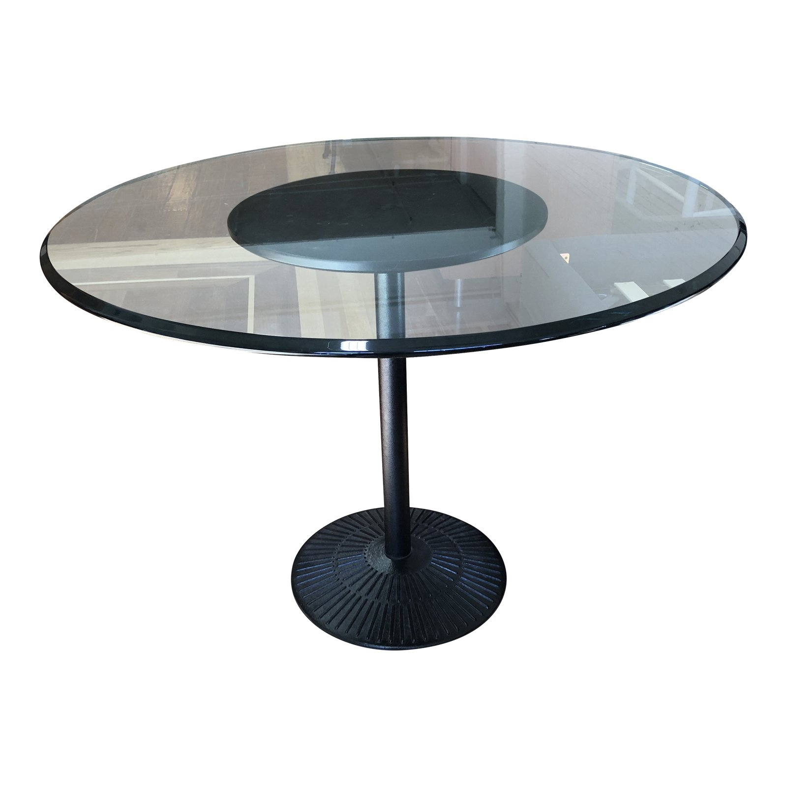 Round Glass + Metal Pedestal Table