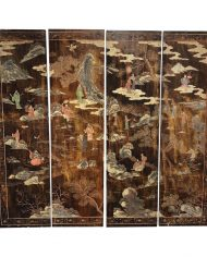 vintage-japanese-two-sided-hand-painted-four-screen-panel-screen-6281