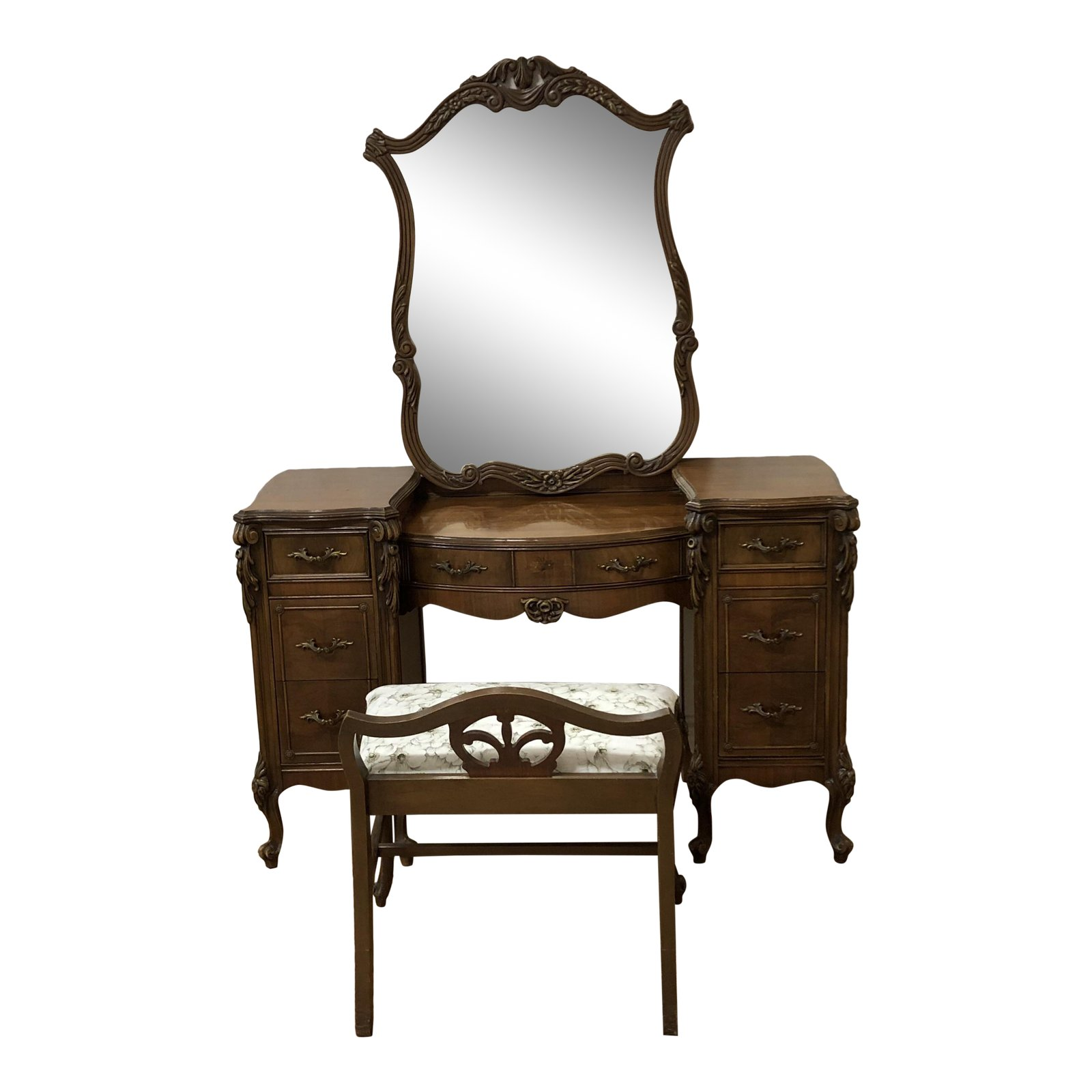 Vintage Vanity Wood Desk Mirror Stool Design Plus Gallery