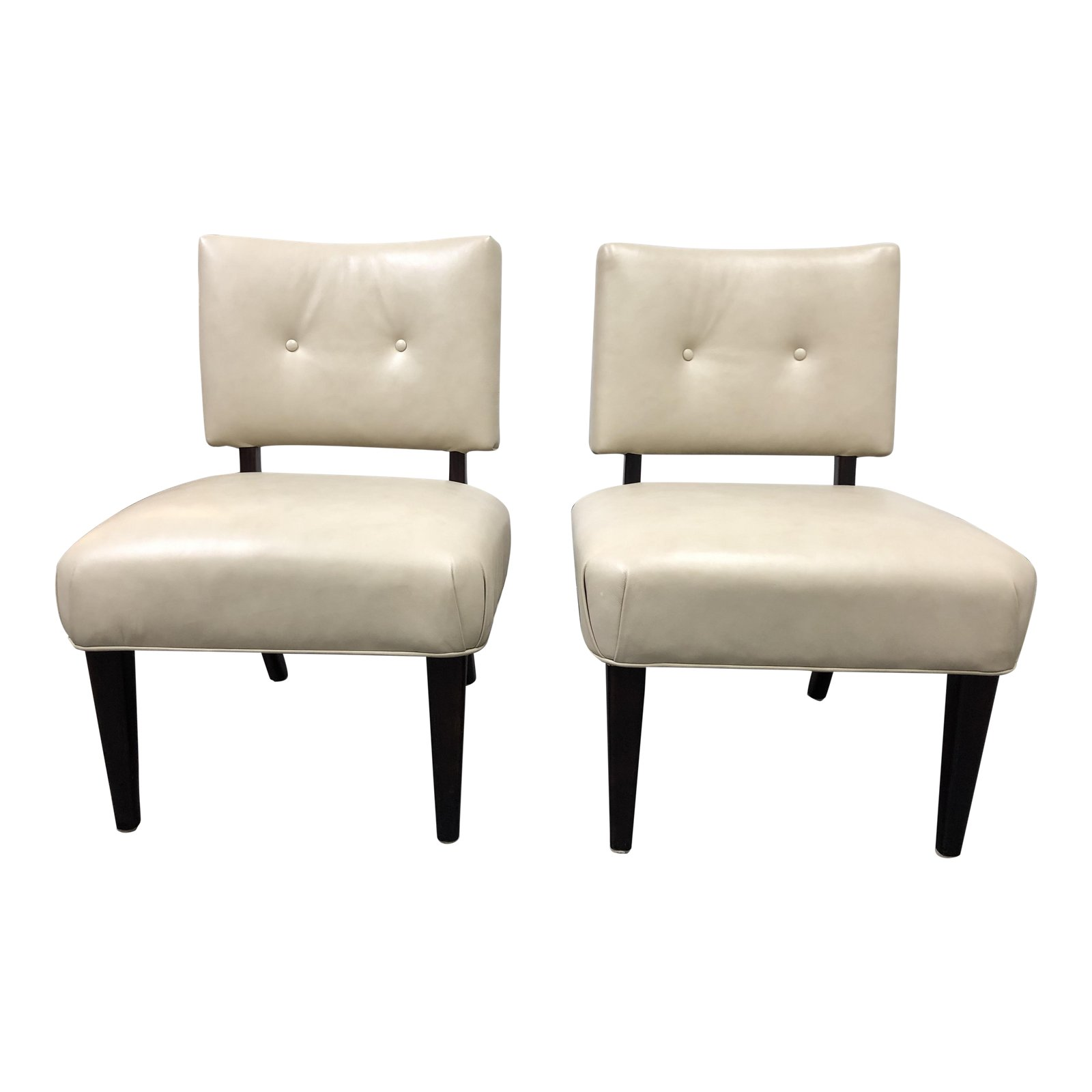 Pair Of Mccreary Cream Armless Occasional Chairs Design