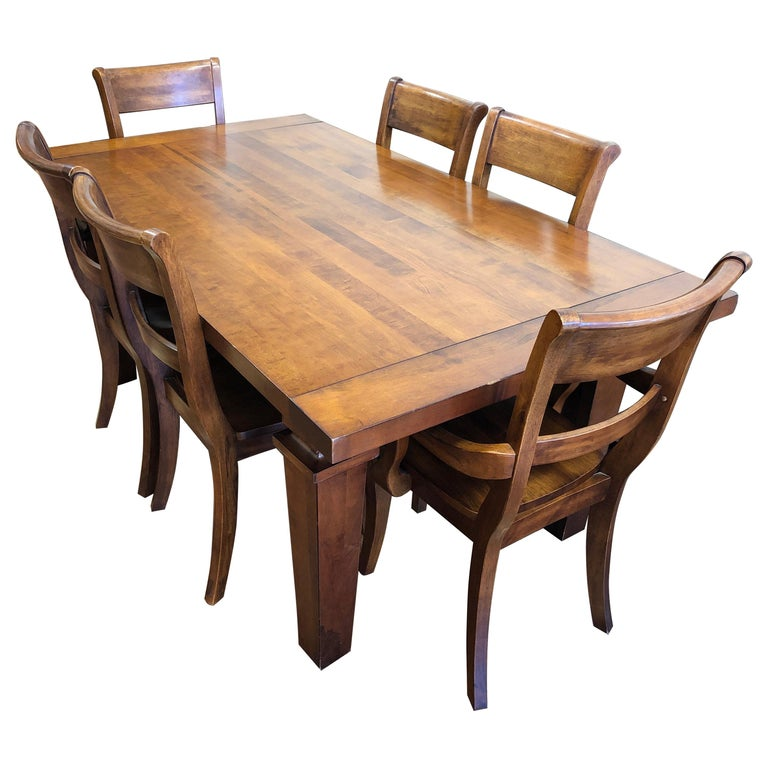 Custom Wood Dining Table + Six Chairs From Chile