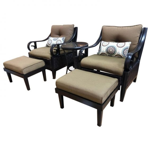 Pair Of Lazy Boy Patio Chairs Ottomans Side Table Set