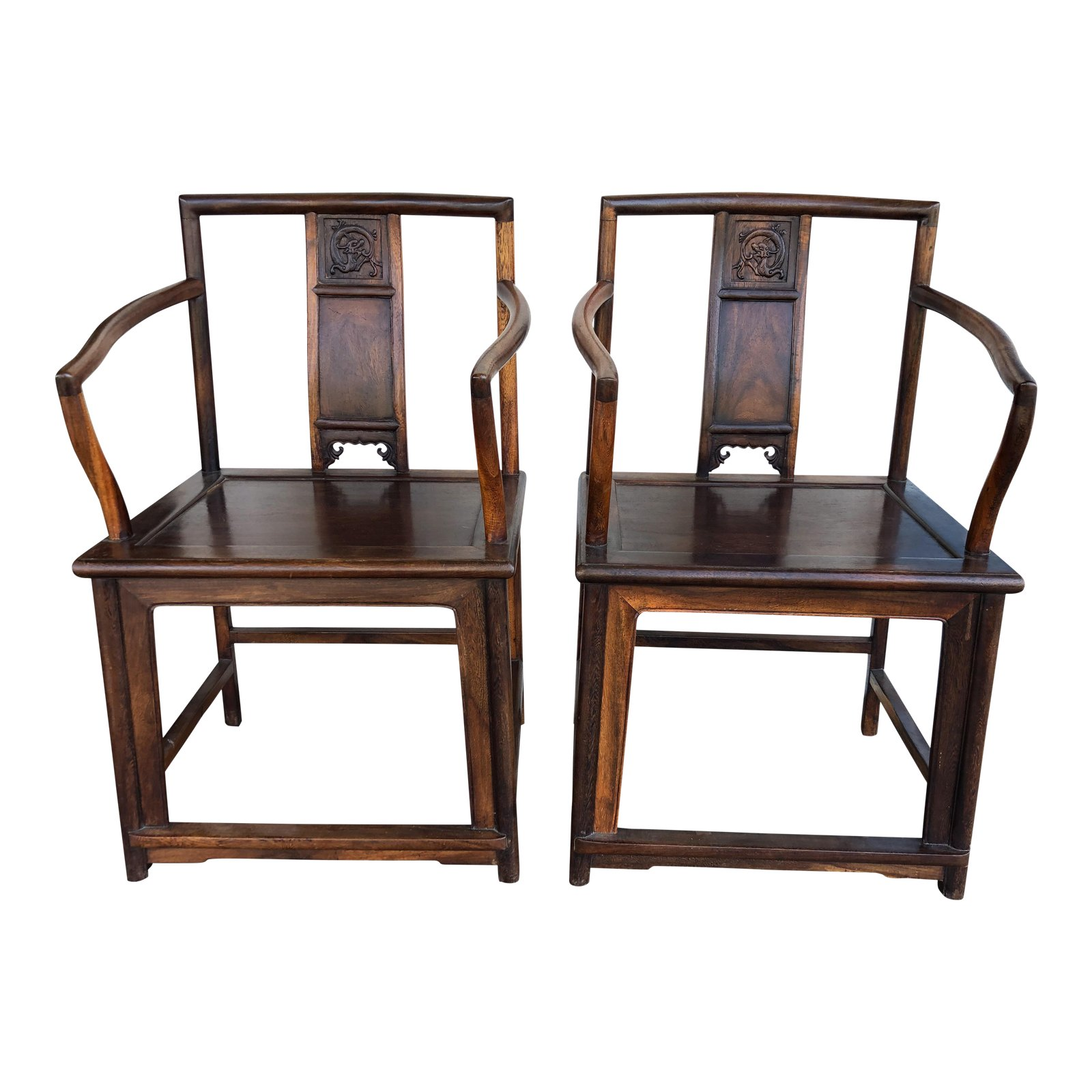 Chinese Rosewood Chairs, A Pair