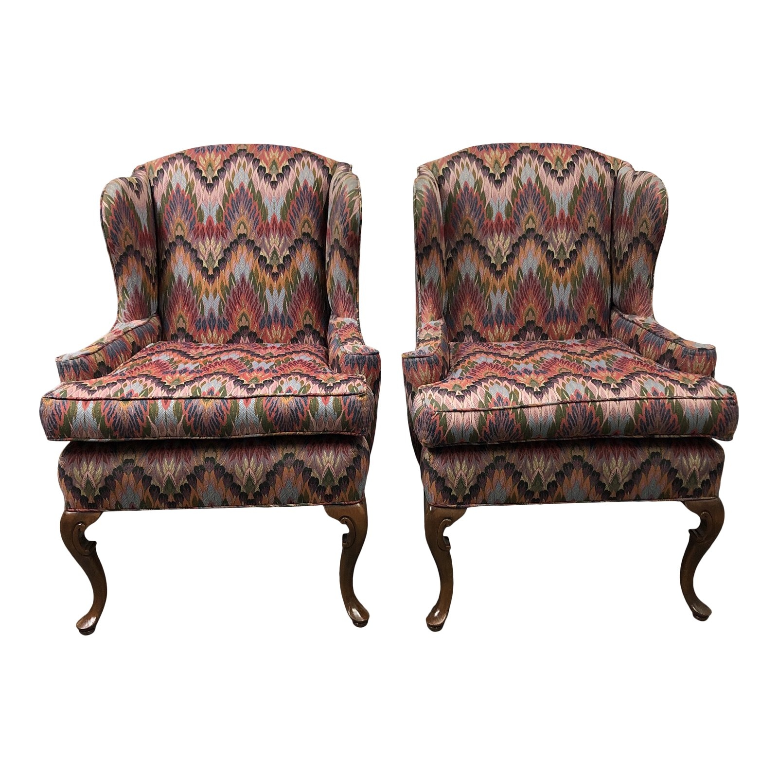 Unique Upholstered Chairs: Custom Upholstered Wingback Chairs-A Pair