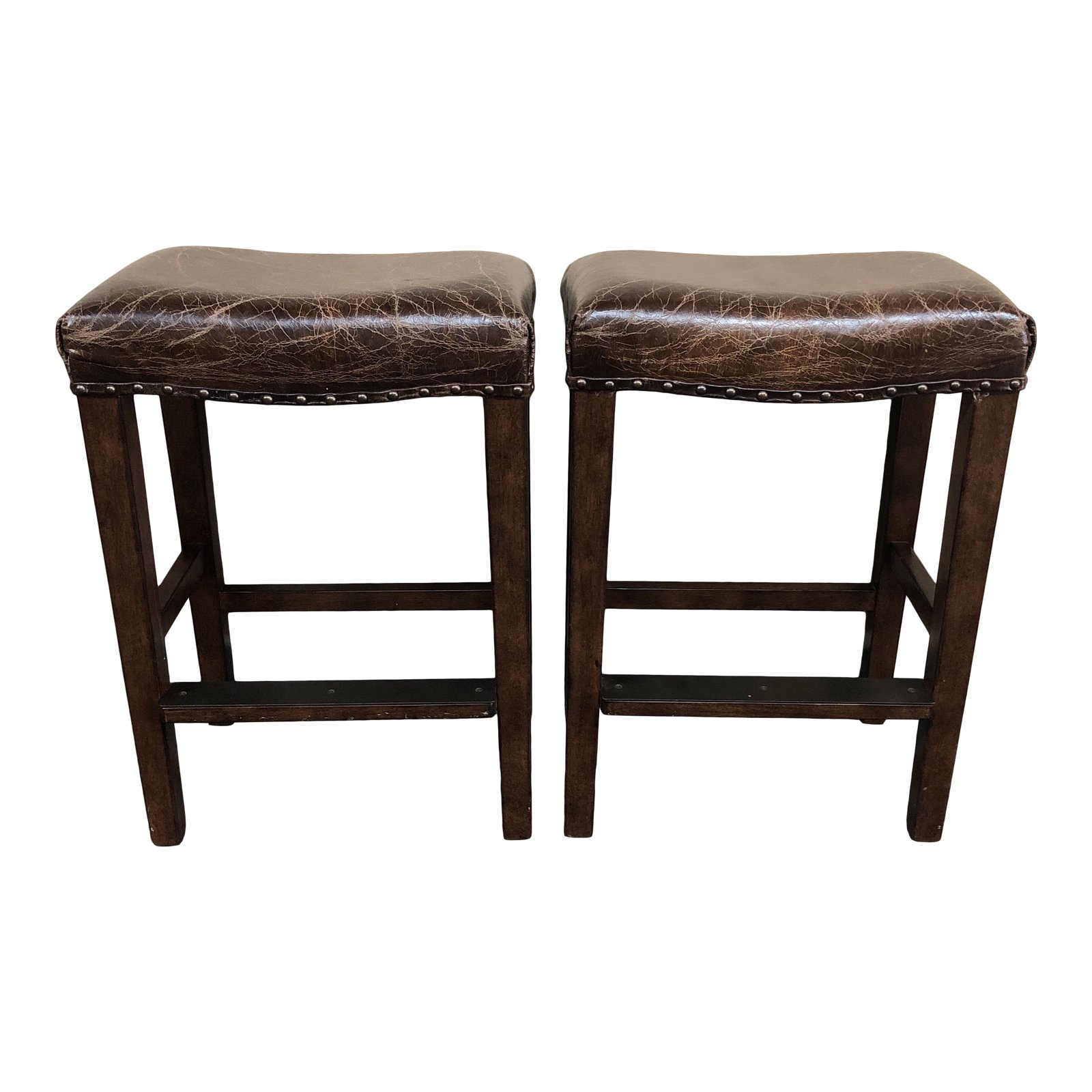 Pleasant Pair Of Manchester Leather Counter Stools By Pottery Barn Pdpeps Interior Chair Design Pdpepsorg