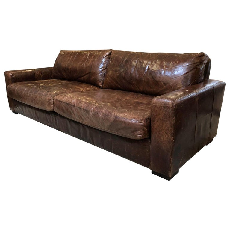 Maxwell Distressed Leather Sofa By
