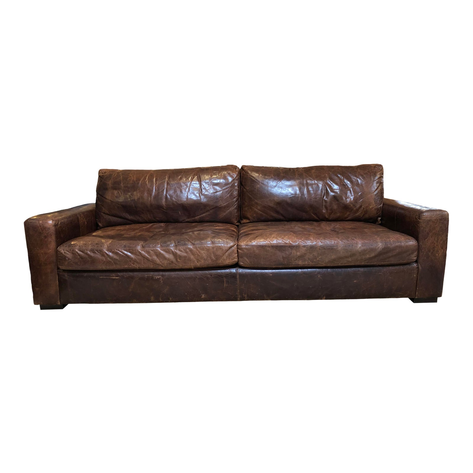 Maxwell Distressed Leather Sofa By Restoration Hardware