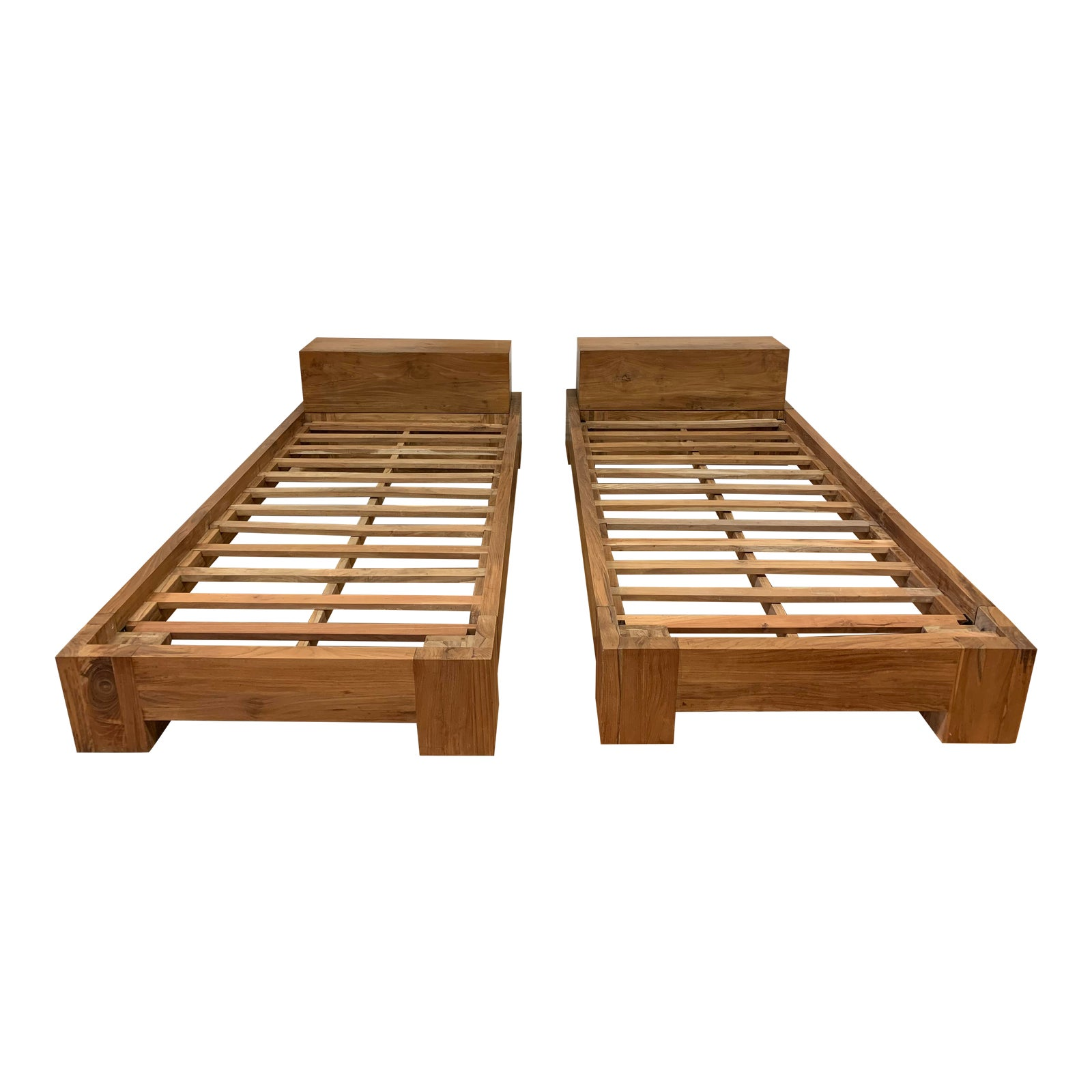 Pair Of Twin Size Solid Wood Bed Frames Original Price 4 000 Design Plus Gallery