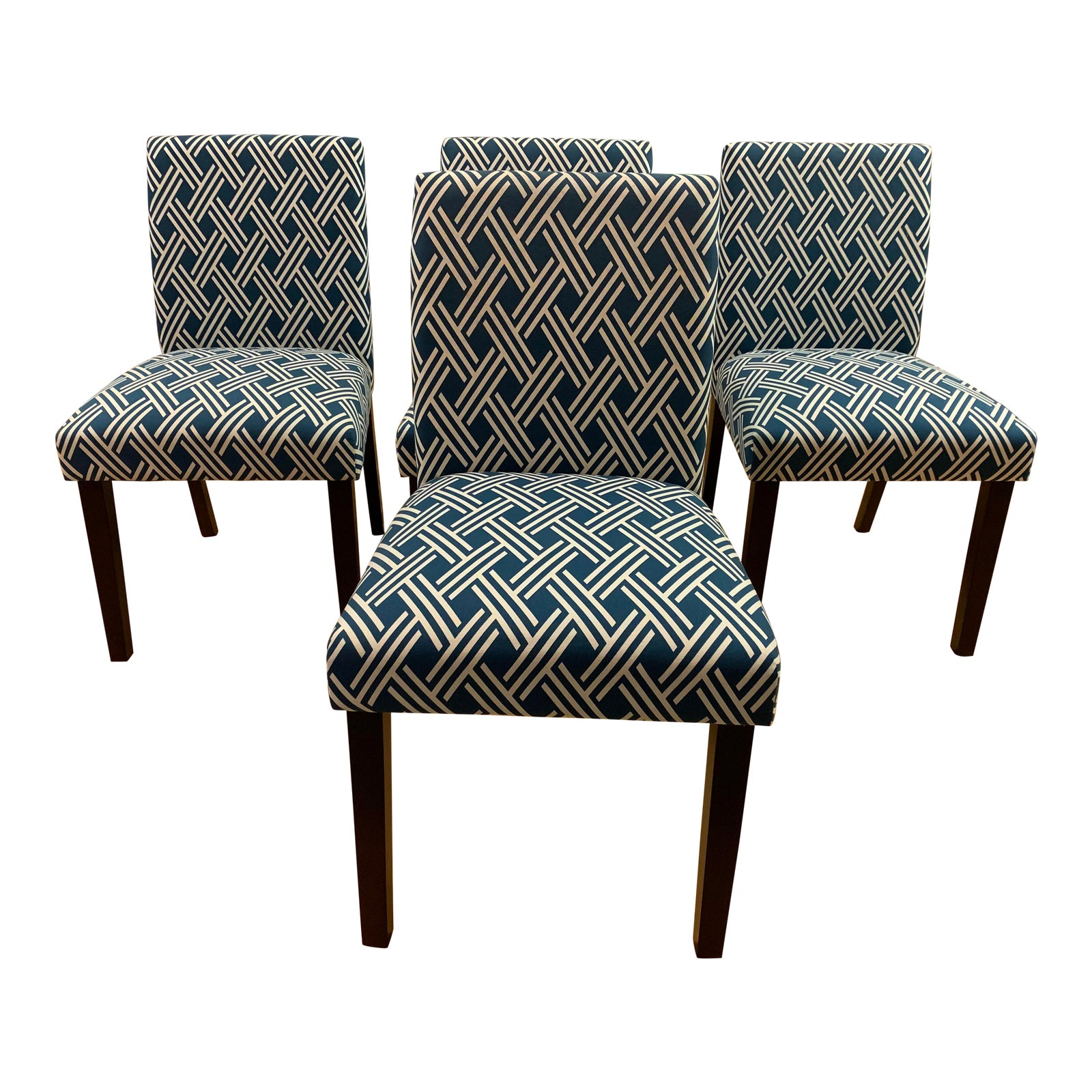 Wondrous Parsons Style Blue White Dining Chairs Set Of Four Unemploymentrelief Wooden Chair Designs For Living Room Unemploymentrelieforg