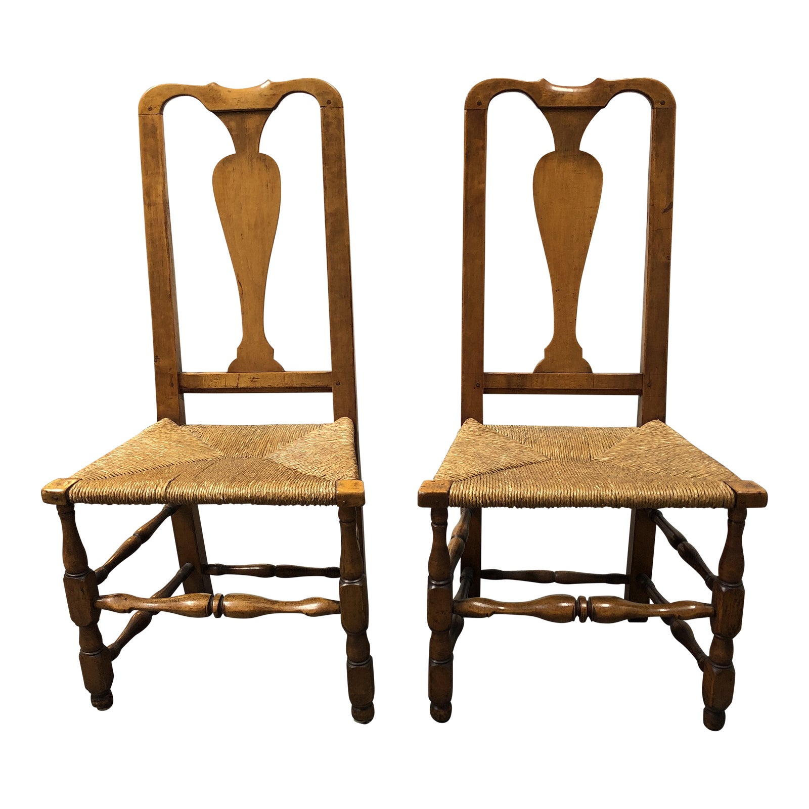 Vintage Queen Anne Style Side Chairs A Pair Design Plus Gallery