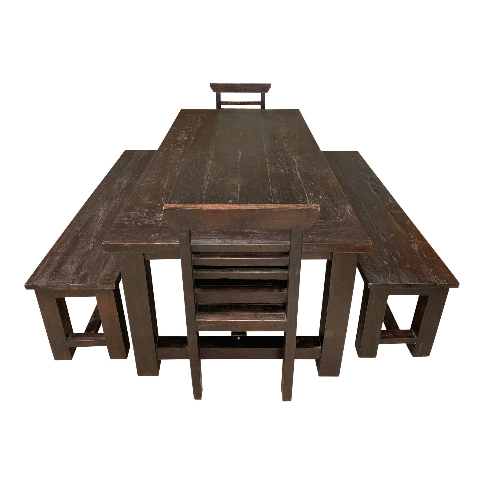 Astounding Handcrafted Teak Table Two Benches Two Chairs Gmtry Best Dining Table And Chair Ideas Images Gmtryco