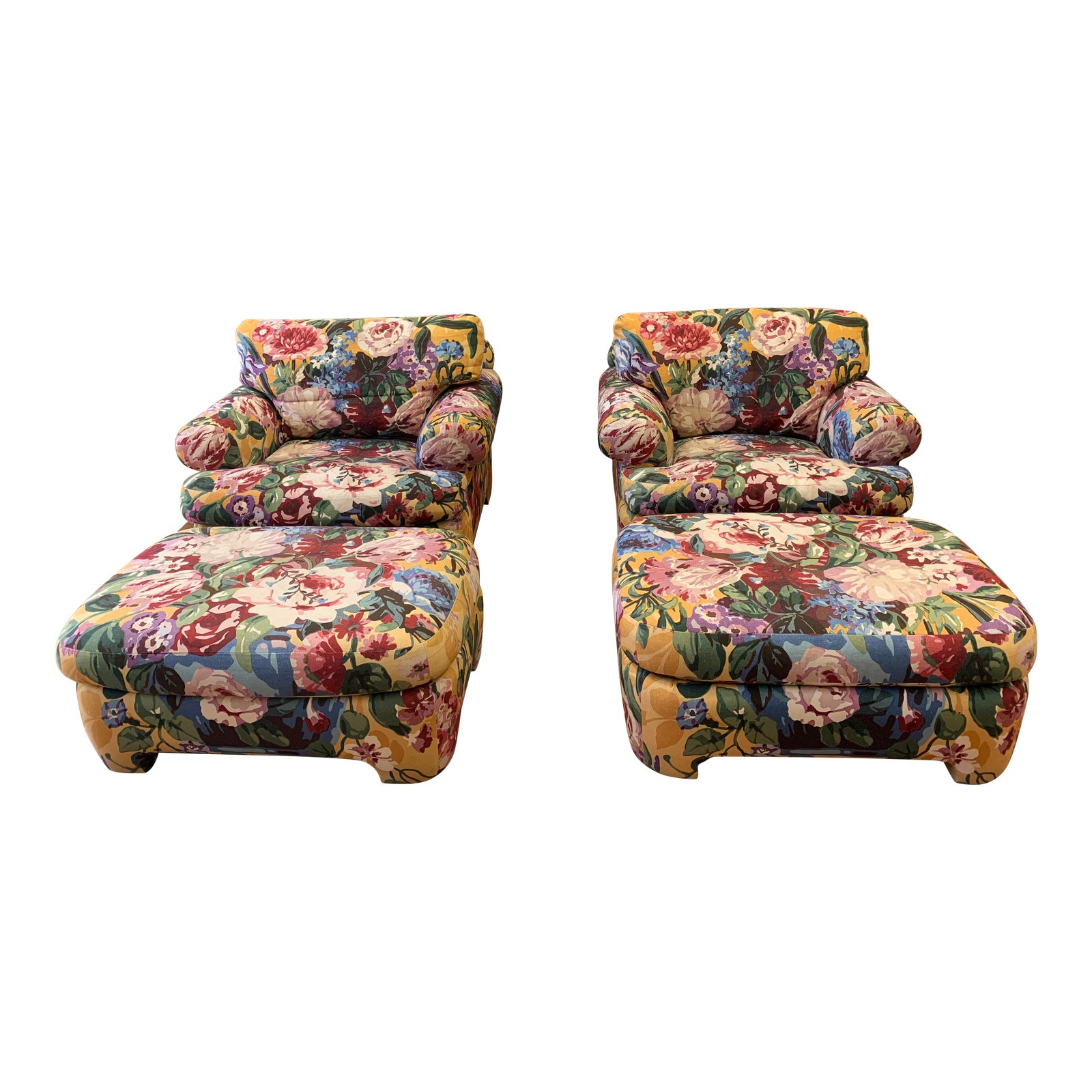 Enjoyable Kroll Furniture Floral Lounge Chairs Ottomans A Pair Squirreltailoven Fun Painted Chair Ideas Images Squirreltailovenorg