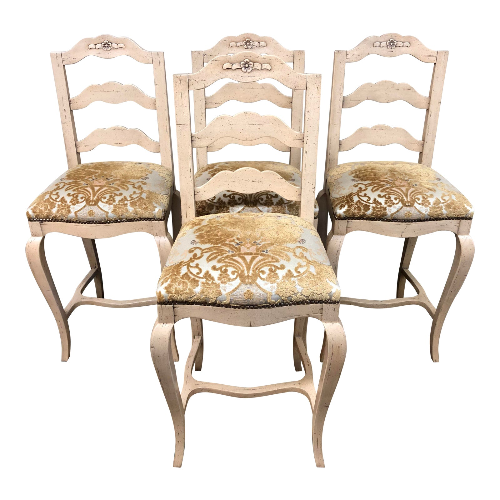 Super Chaddock French Country Bar Stools Set Of Four Bralicious Painted Fabric Chair Ideas Braliciousco