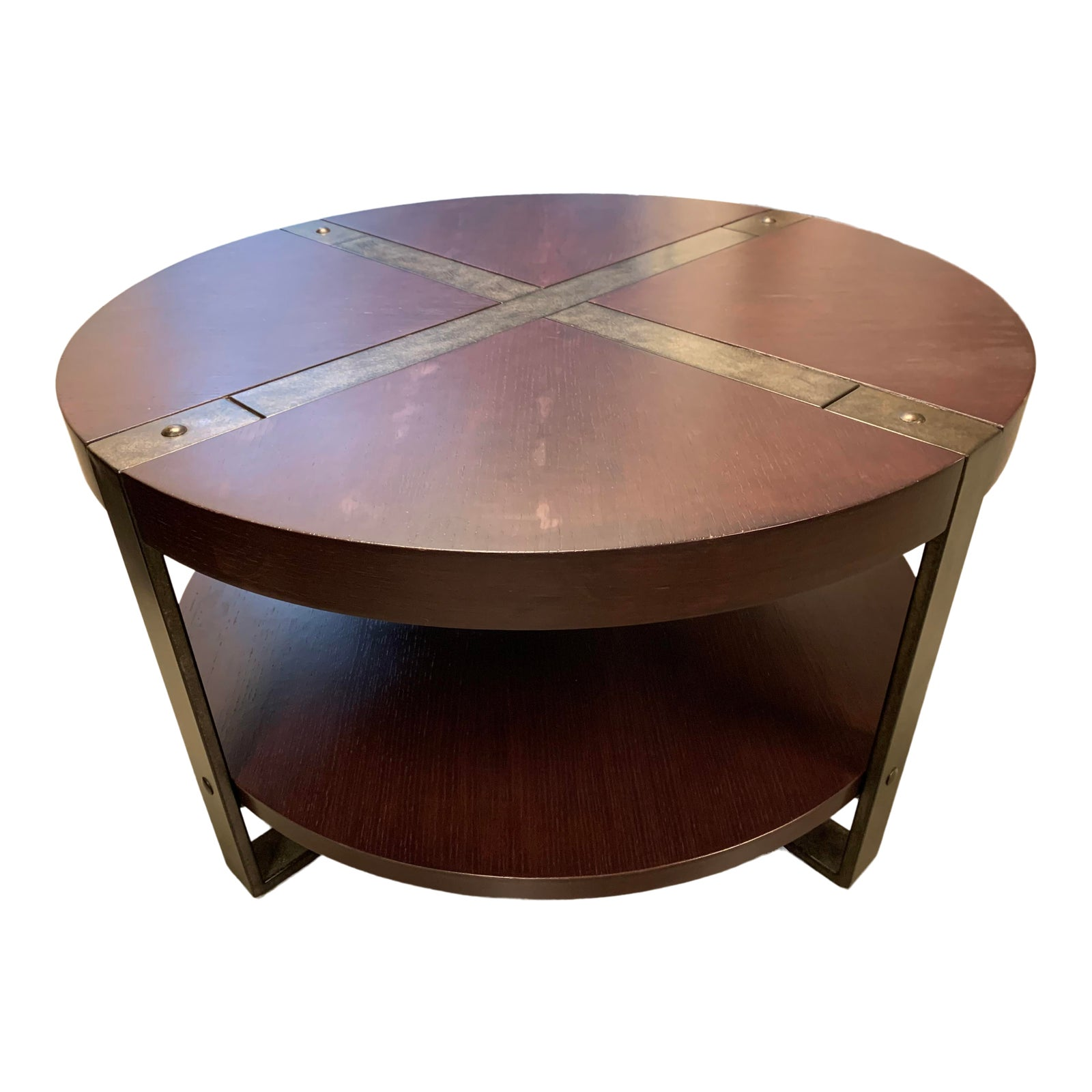 Awesome Riverside Furniture Round Wood Metal Wrapped Coffee Table Bralicious Painted Fabric Chair Ideas Braliciousco