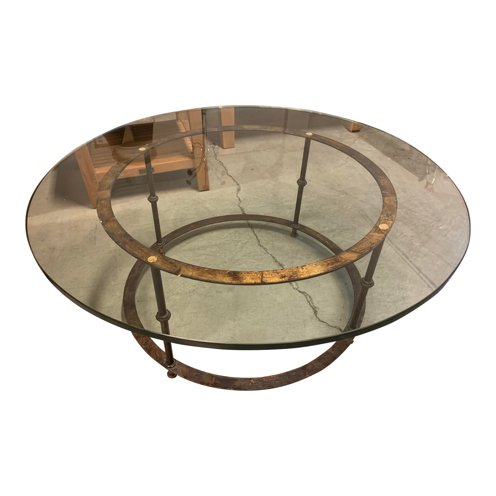 Spanish Round Glass Top Antique Brass Base Coffee Table Design Plus Gallery