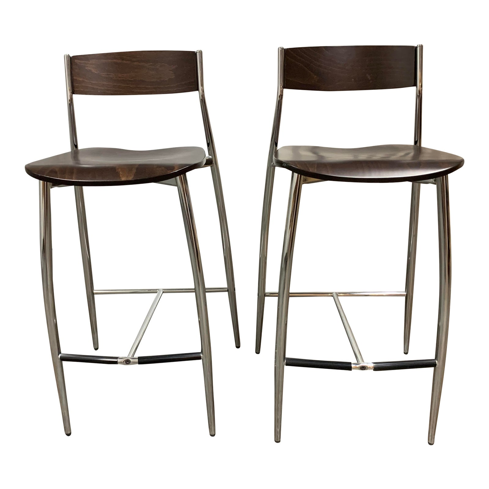 Outstanding Design Withing Reach Altek Baba Wood Chrome Barstools A Pair Original Price 1 700 Theyellowbook Wood Chair Design Ideas Theyellowbookinfo