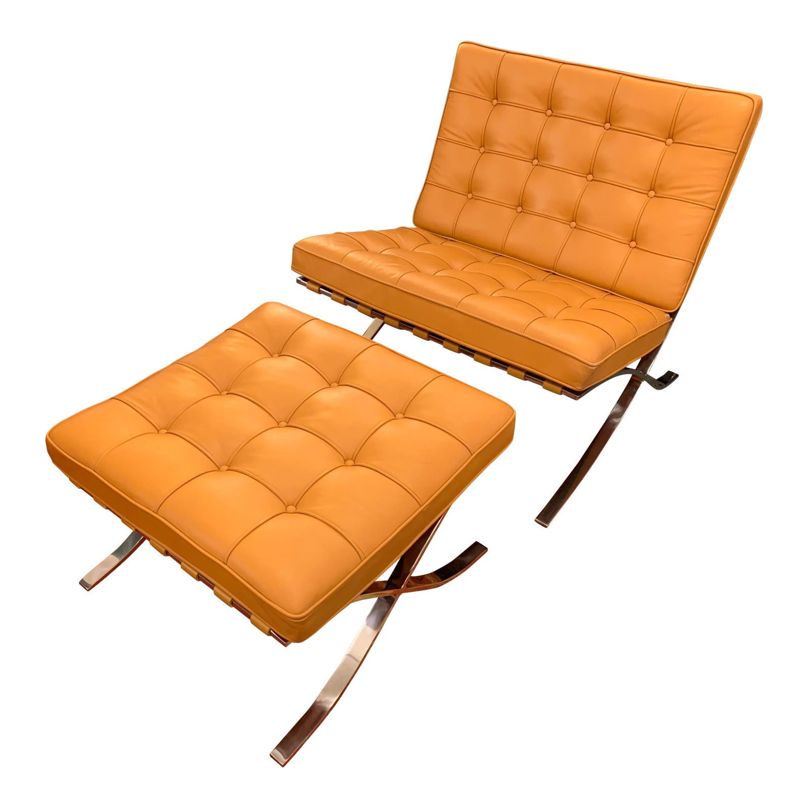 Picture of: Knoll Studio Volo Tan Leather Barcelona Chair And Ottoman Original Price 9 176 Design Plus Gallery