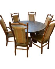 custom-round-cement-teak-dining-table-six-hickory-wood-chairs-a-set-9013