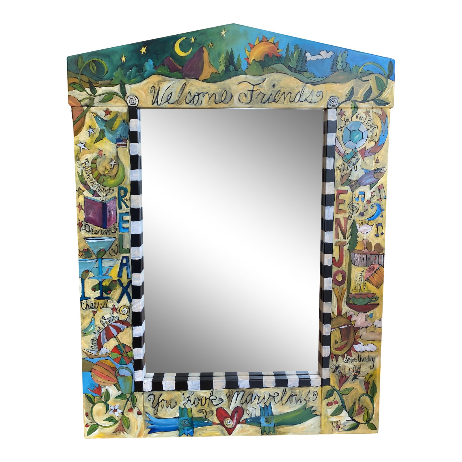 The Sticks Hand Painted Wall Mirror | Design Plus Gallery
