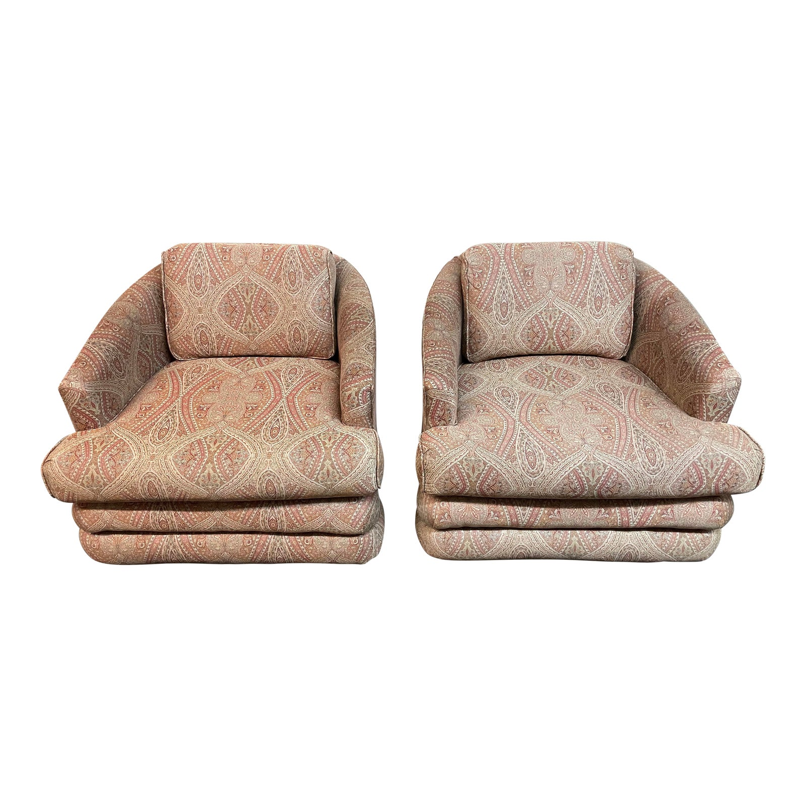 Laura Ashley Etro Upholstered Barrel Chairs A Pair Design Plus Gallery